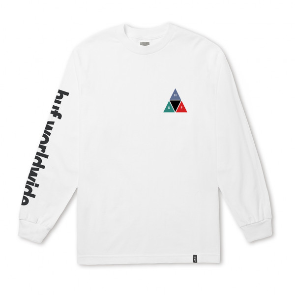 HUF Longsleeve Prism Triple Triangle - white
