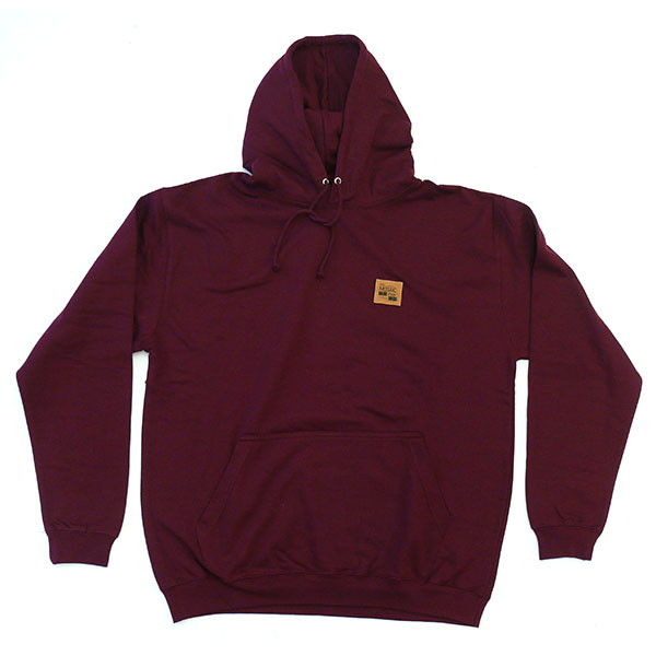 The MOSAIC Shop Hooded Sweatshirt Leather Patch - burgundy