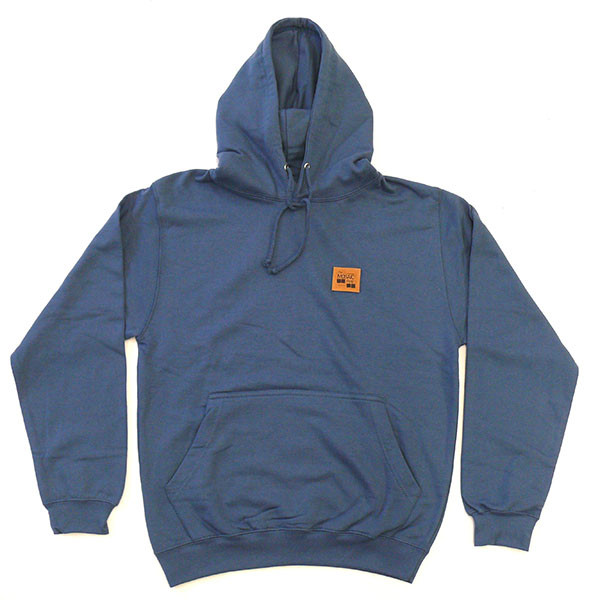 The MOSAIC Shop Hooded Sweatshirt Leather Patch - navy