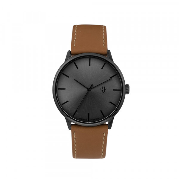 Uhr Khorshid Funk Metal - gun metal funky brown vegan leather