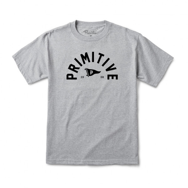 Primitive T-Shirt Big Arch Dirty P Pennant - athletic heather