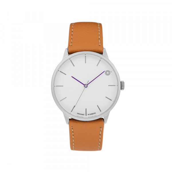 CHPO Uhr Loud - silver vegan light brown leather