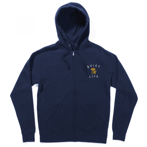 The Quiet Life Classic Shhh Zipper Hoodie navy