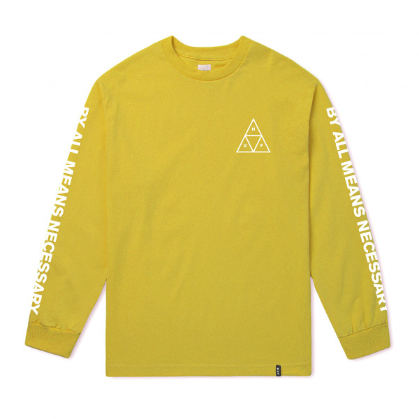 HUF Longsleeve Essentials Triple Triangle - mineral yellow
