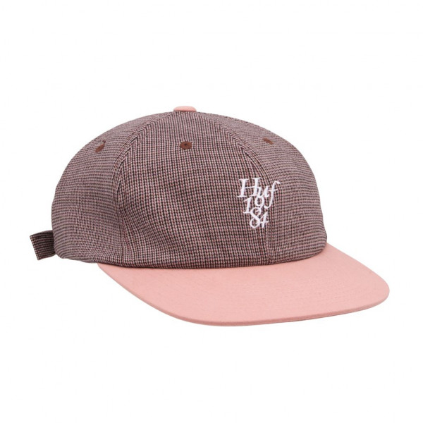 HUF Micro Houndstooth 6 Panel Cap dusty rose