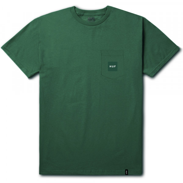 HUF T-Shirt Box Logo Pocket (Woven Label) - emerald