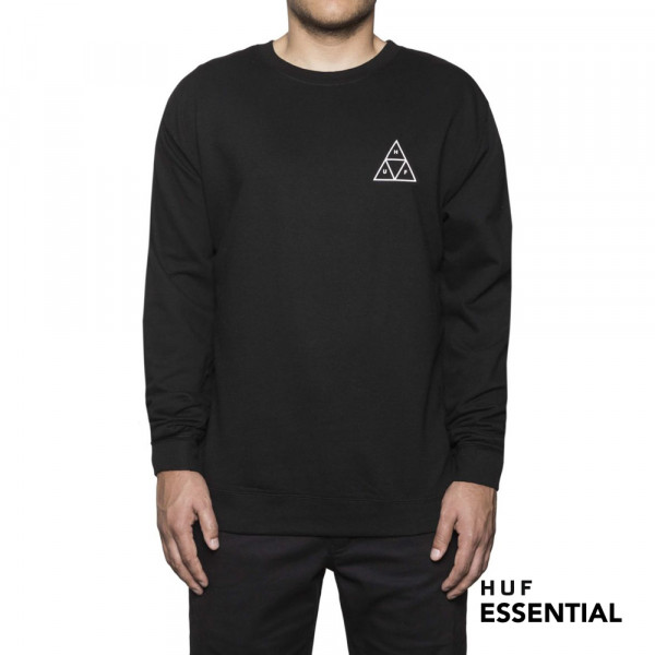 HUF Sweatshirt Essentials TT Crew - black